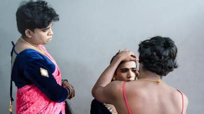 T K Sandeep is a photographer whose work consists of moody video poems and photo poems. One of his recent projects was a calendar in which he got hijras and transgenders in Kerala to tell him their dream professions, and then he photographed them dressed as those professionals.
