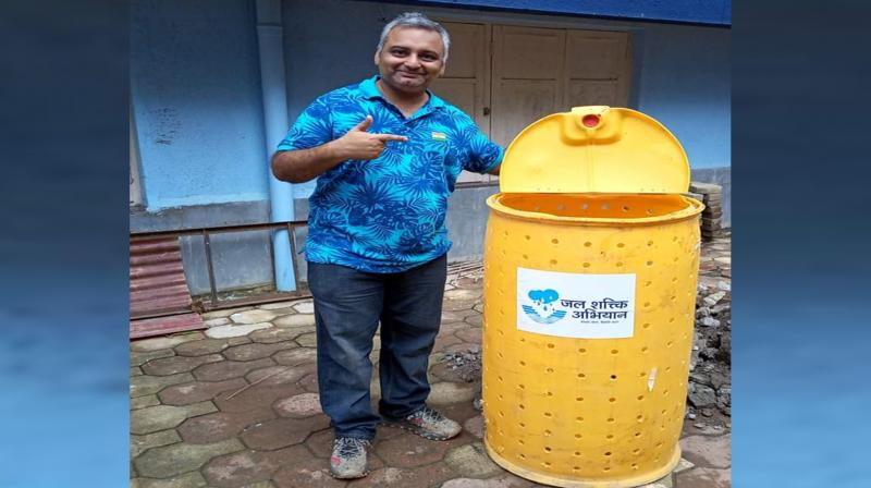 The 40-year-old Mumbai man gave up his career to educate people about setting up economical rainwater harvesting systems to recharge groundwater and save rainwater for reuse. (Photo: Subhajit Mukherjee)