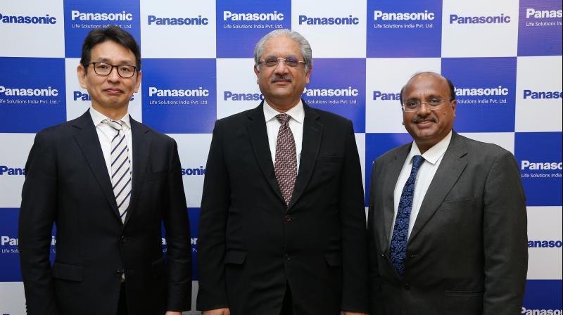 L-R-  Tetsuyasu Kawamoto-Joint Managing Director,  Vivek Sharma-Managing Director and Dinesh Aggarwal-Joint Managing Director, at the Unveiling of the New Corporate Identity  of Panasonic Life Solutions India.