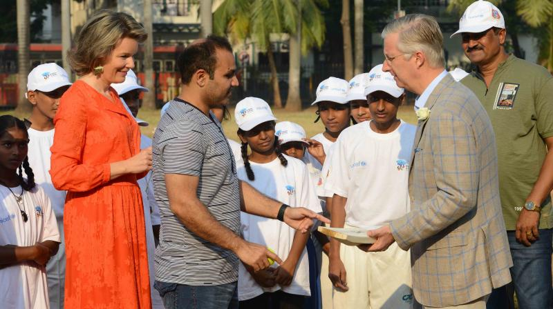 Virender Sehwag also presented King Philippe with an autographed bat.(Photo: Rajesh Jadhav / Deccan Chronicle)