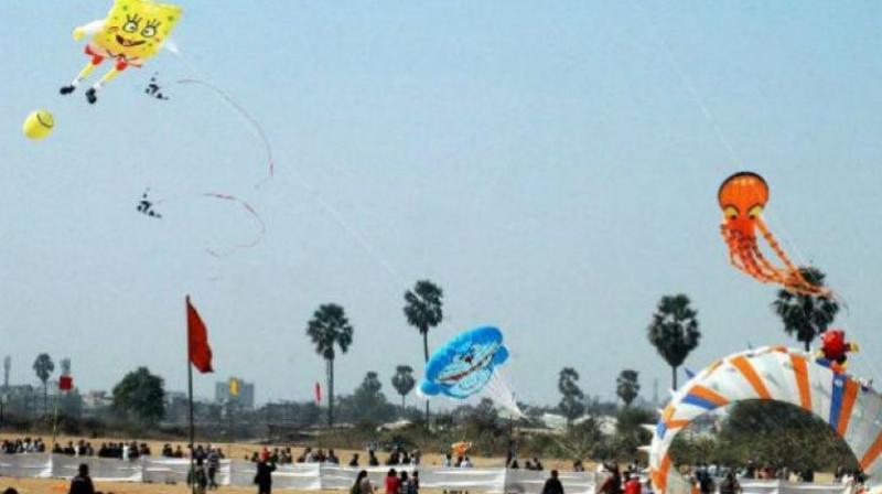 Separate spots have been arranged for professional kite-flyers and residents to exhibit their skills.