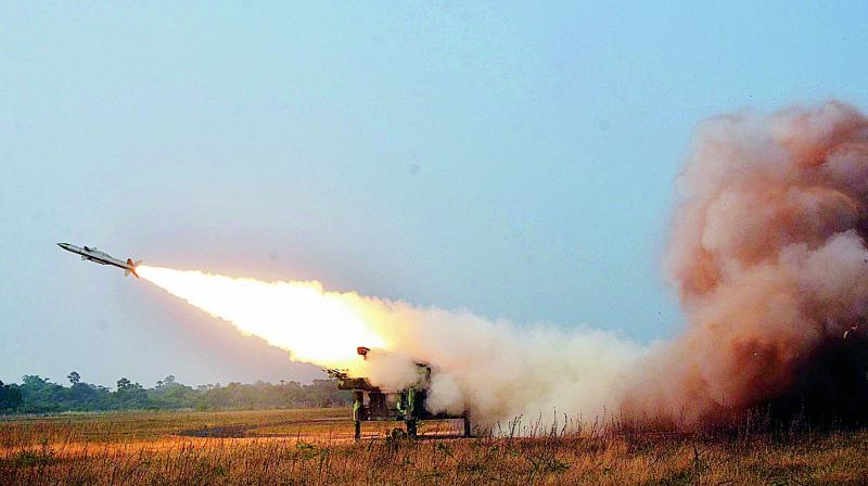 Indian Air Force tests a surface-to-air missiles at the Air Force Station at Suryalanka in Guntur district on Saturday (Photo: DC)