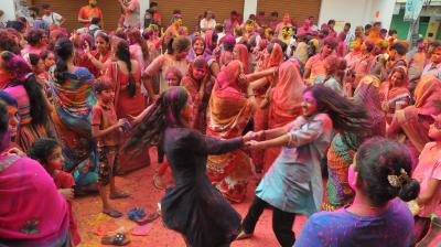 Girls groove to Holi numbers during Holi celebrations