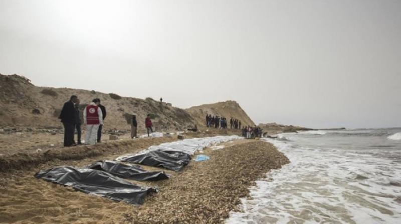 At least 74 bodies were found on the beach in Zawiya but the circumstances of their drowning remained a mystery. (Photo: Twitter/Red Crescent)