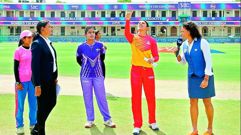 Match Referee G.S. Lakshmi (second from left) oversees the toss for the Women's T20 Challenge match between Velocity led by Mithali Raj (centre) and Smriti Mandhana's Trailblazers in Jaipur recently.(Photo: BCCI)