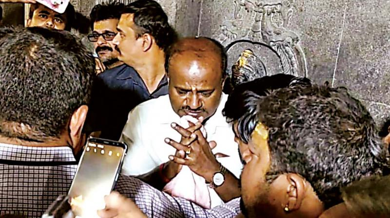 Chief Minister H.D. Kumaraswamy at Devalaganagapur's Dattatreya temple in Kalaburagi district on Tuesday (Photo: KPN)