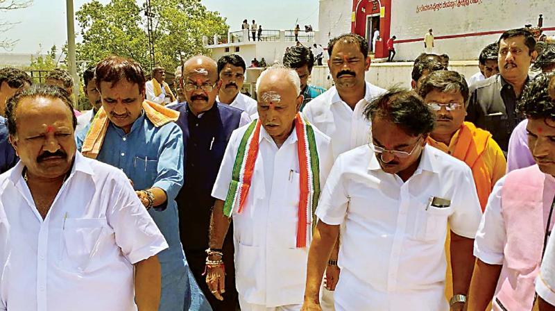 State BJP president B.S. Yeddyurappa after visiting  Ravanna Siddeswara temple in Kalaburagi district on Tuesday (Photo: KPN)