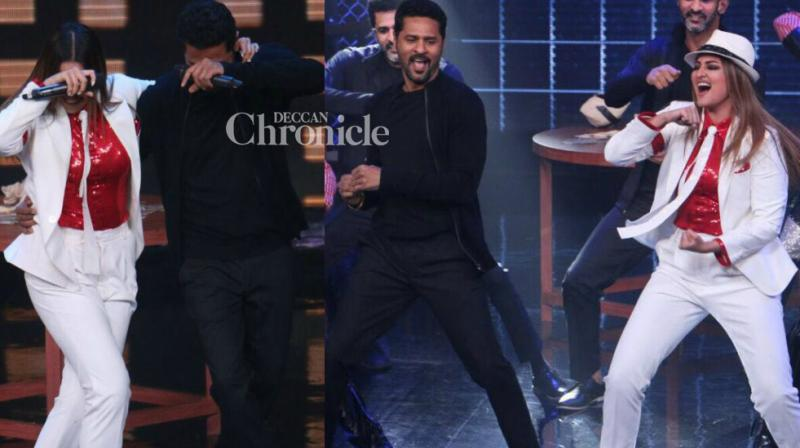 Sonakshi Sinha and Prabhudeva bonded big time as they shot for an episode of Farah Khan's 'Lip Sing Battle' along with rapper Badshah in Mumbai on Monday. (Photo: Viral Bhayani)