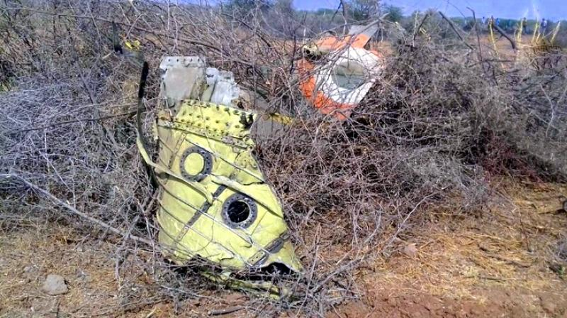 According to reports, the plane was on a routine training mission from the Jamnagar Air Base and crashed near a village. (Photo: ANI | Twitter)