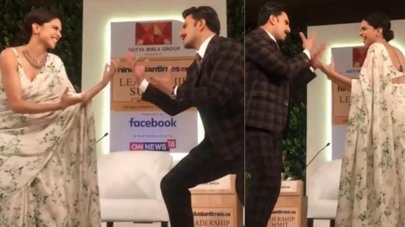 Screengrabs from Deepika Padukone and Ranveer singh's dance at an event for a media group in Delhi on Friday.
