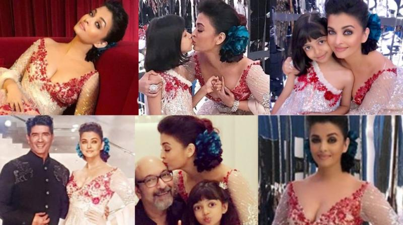 Pictures of Aishwarya Rai Bachchan with Aaradhya at Manish Malhotra's fashion show in Doha.