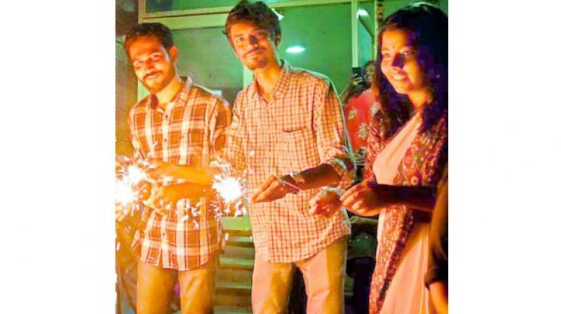 Poulomi with her friends during Diwali celebrations last year