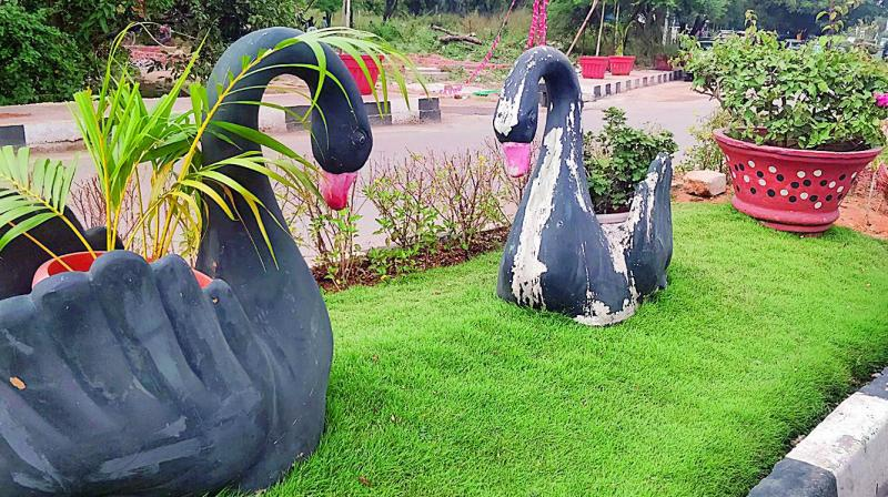 Hyderabad: Planters set up at Hitex Road defaced on gardens in srinagar, gardens in tokyo, gardens in india, gardens in lahore, gardens in bangalore, gardens in nairobi, gardens in kashmir, gardens in seoul, gardens in beijing, gardens in bangkok,