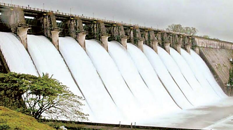 A file photo of water being released from Linganamakki dam in Shivamogga district