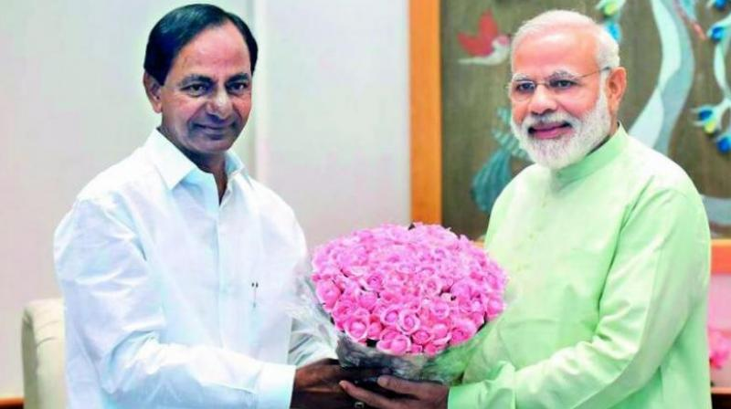 Telangana CM K. Chandrasekhar Rao with Prime Minister Narendra Modi