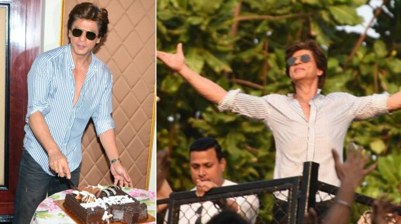 Shah Rukh Khan cutting the cake during his birthday celebration with media (L) and doing his iconic pose for fans outside his house, Mannat (R).