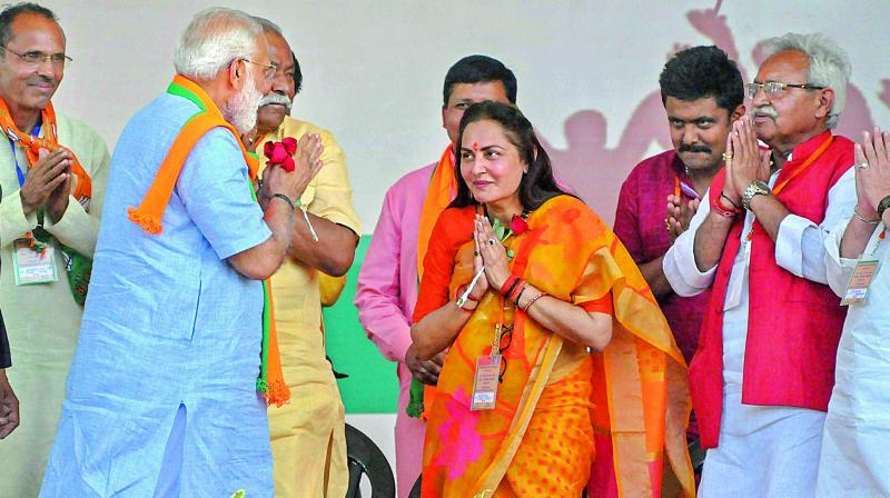 Prime Minister Narendra Modi with BJP parliamentary candidate from Rampur Jaya Prada and other leaders, at an election rally in Moradabad on Sunday (Photo: AP)