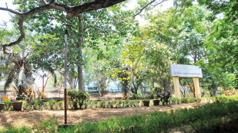 The children's park in front of Kerala Water Authority office opposite Kanakakunnu Palace in an abandoned state.