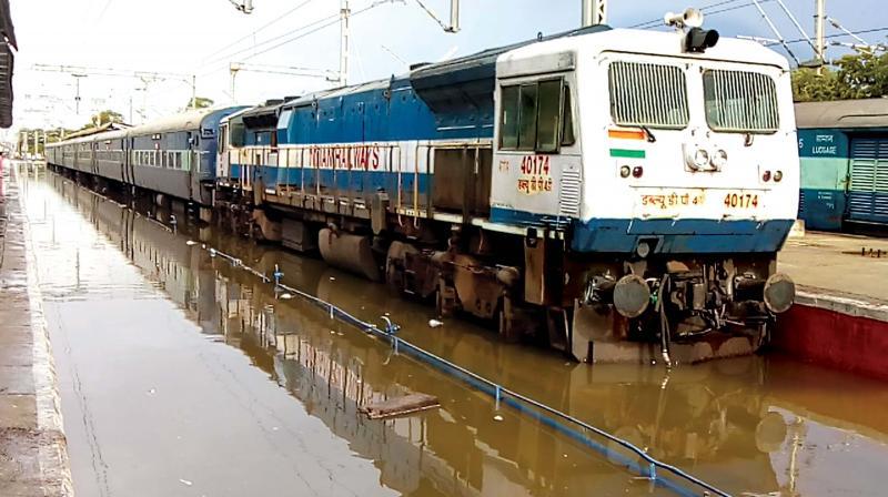 Inundated rail tracks in Thoothukudi railway station. (Photo: DC)