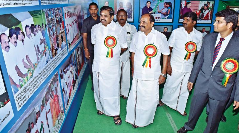 Chief Minister Edappadi K.Palaniswami inauguarates a photo exhibition at Kovilpatti, organised by information and oublicity department on Friday. Also seen are ministers Kadambur Raju and C.Vijayabhaskar.  (Image: DC)