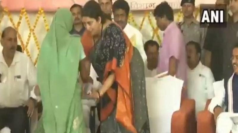 Irani had defeated Gandhi from the high-prestige Amethi parliamentary constituency by 55,120 votes. (Photo: ANI)