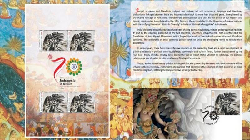 The stamp, designed by Indonesian sculptor Padmashri Bapak Nyoman Nuarta, features a scene from Ramayana in which Jatayu fought to save Sita, the Embassy of India in Jakarta said in a statement. (Photo: ANI)