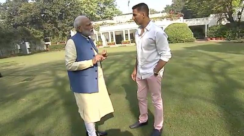 On being asked by Kumar that PM Modi is known for his strictness, he said, 'I am strict and disciplined but I do not get angry or insult any person.' (Photo: BJP | Twitter)