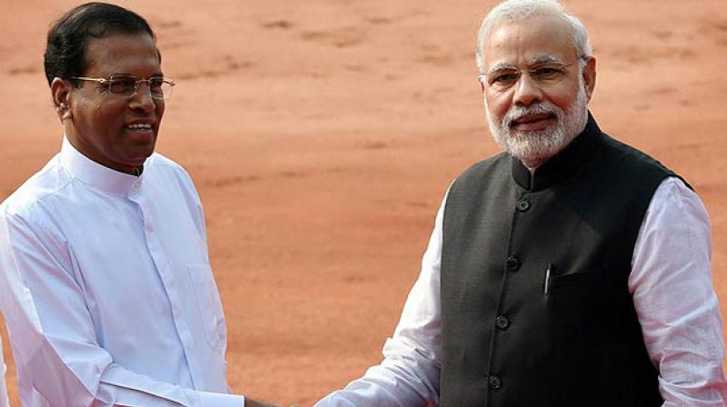 Prime Minister Narendra Modi with Sri Lankan President Maithripala Sirisena  (Photo: PTI)