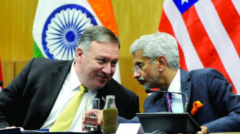 US secretary of state Mike Pompeo with external affairs minister S. Jaishankar during a joint press conference in New Delhi. (Photo: G.N. Jha)