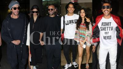 Shah Rukh Khan, Ranveer Singh, Rohit Shetty, Sonam Kapoor-Anand Ahuja were seen at the Mumbai airport and Ishaan Khatter, Janhvi Kapoor were seen at the city mall. Checkout the latest pictures of Bollywood stars here. (Photos: Viral Bhayani)