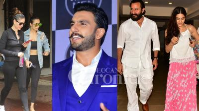 Bollywood heartthrob Ranveer Singh was looking ultra stylish at the brand event and Saif Ali Khan was snapped with his daughter Sara and wife Kareena Kapoor Khan. Checkout exclusive photo of B-town celebrities right here. (Pictures: Viral Bhayani)