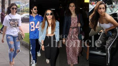 Bollywood celebs Taapsee Pannu, Varun Dhawan with girlfriend Natasha, Alia Bhatt, Karan Johar, Mallika Sherawat, Malaika Arora and others were spotted in the city. Check out the latest photos of your favourite B-Town celebs right here. (Pictures; Viral Bhayani)