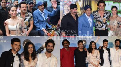 The much awaited trailer of Dharmendra, Bobby and Sunny Deol starrer 'Yamla Pagla Deewana: Phir Se' and Shahid Kapoor's 'Batti Gul Meter Chalu' have released amidst much excitement. Checkout the latest photos from both the events right here. (Photos: Viral Bhayani)