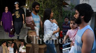Shahid Kapoor and Mira Rajput, daughter Misha, and Kapoor family were spotted outside Mumbai's Hinduja hospital. (Pictures: Viral Bhayani)