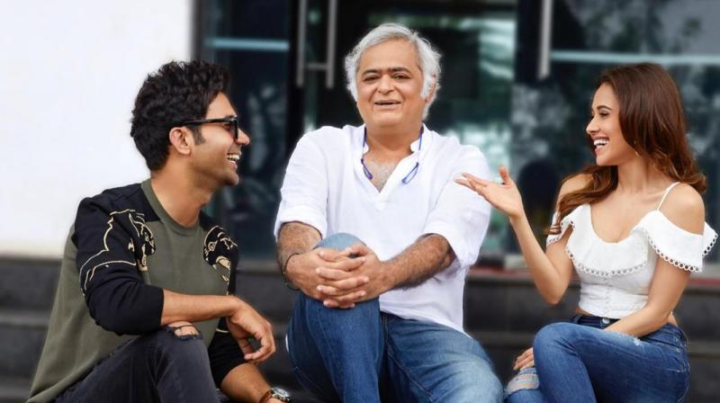 Rajkummar Rao and Nushrat Bharucha with director Hansal Mehta. (Courtesy: Instagram)
