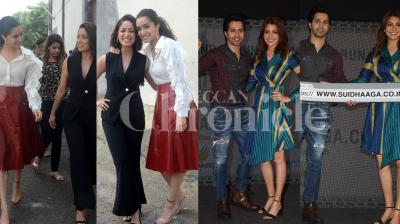 Sui Dhaaga: Made In India couple Anushka Sharma and Varun Dhawan was seen promoting the forthcoming film. Where as Sharddha Kapoor and Yami Gautam sans Shahid Kapoor were spotted on the sets of reality show to promote Batti Gul Meter Chalu. Check out the latest photos of Bollywood stars. (Photos: Viral Bhayani)
