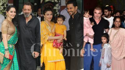Salman Khan's sister Arpita Khan Sharma and Aayush Sharma had welcomed Bappa to their household. After one and a half day they proceeded for the Visarjan. Check out the exclusive pictures of B-Town celebs present at Khan's residence in Mumbai. (Photos: Viral Bhayani)