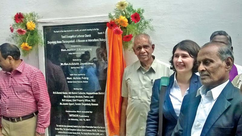 Ms.Lisa  Eichhorn, Consulate Attache, Consulate General of the Federal Republic of Germany, Chennai unveiled the plaque marking the inauguration of Ziegenbalg museum at Tharangampadi on Saturday.