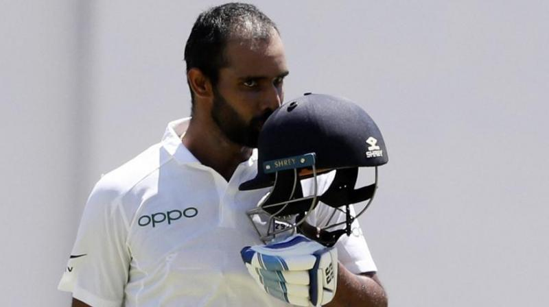 25-year-old Andhra batsman Hanuma Vihari emerged as the top run-getter with 291 runs in India's 2-0 series win over the West Indies and vindicated the team management's decision to have him instead of the more stylish Rohit Sharma in the playing XI. (Photo:AP)