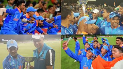 The Indian contingent celebrates after lifting the ICC Under-19 World Cup trophy. (Photo: AFP / ICC and Cricket World Cup Twitter)