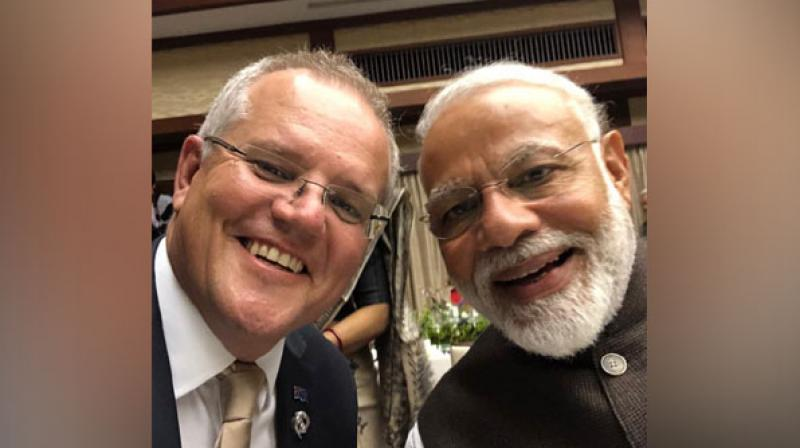 Soon after the Modi's re-election, Morrison called up Modi to congratulate him on winning the Lok Sabha elections and sought to boost bilateral ties. (Photo: Twitter)