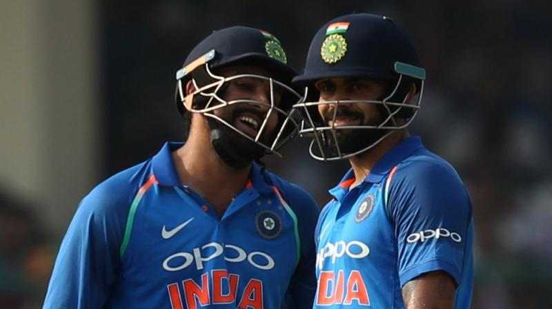 """Two batsmen (Kohli and Rahane) were run out before this (my hundred) in front of me. So, I was not in a mood to celebrate my hundred,"" said Rohit Sharma amidst laughter amongst the media contingent. (Photo: BCCI)"