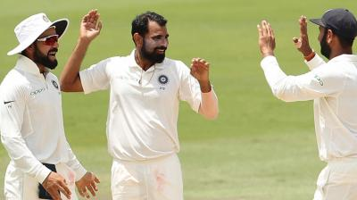 Mohammad Shami celebrates the dismissal of Dean Elgar. (Photo: BCCI)