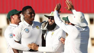 Lungi Ngidi celebrates the dismissal of captain Virat Kohli. (Photo: BCCI)