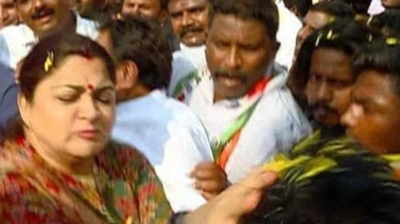 The video shows Sundar jostling through a crowd at rally and suddenly turning and slapping a man. (Photo: Screengrab)