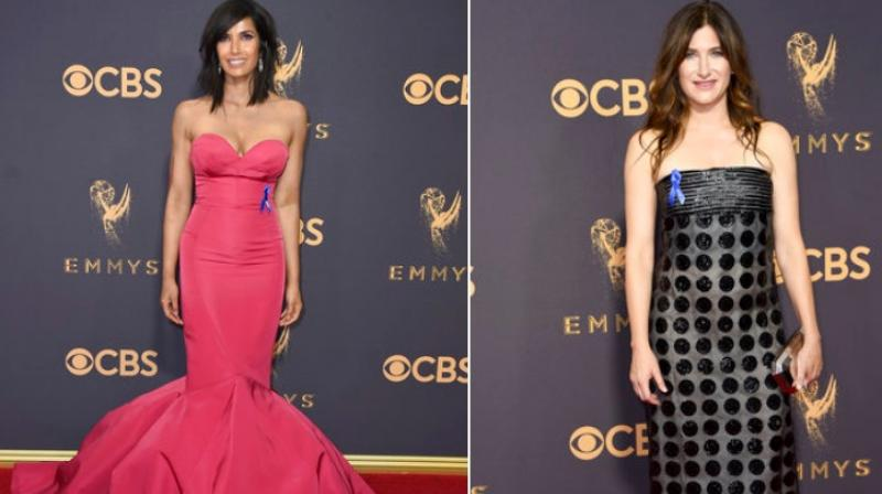 Padma Lakshmi (left) Kathryn Hahn (Right) arrives at the 69th Primetime Emmy Awards on Sunday, Sept. 17, 2017, at the Microsoft Theater in Los Angeles. (Photo: AP)