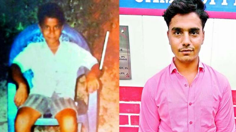 Sujeeth Kumar Jha before he went missing seven years ago and (right) when he was traced recently.