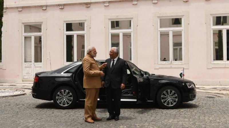 Prime Minister Modi is the second Indian Prime Minister to visit Portugal. (Photo: ANI Twitter)