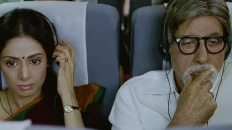 Sridevi and Amitabh Bachchan in a still from 'English Vinglish'.