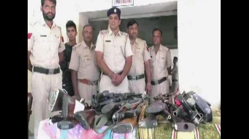 Dinesh Kumar, Sirsa Sadar SHO, confirmed that these arms were recovered from the Dera premises. (Photo: ANI)